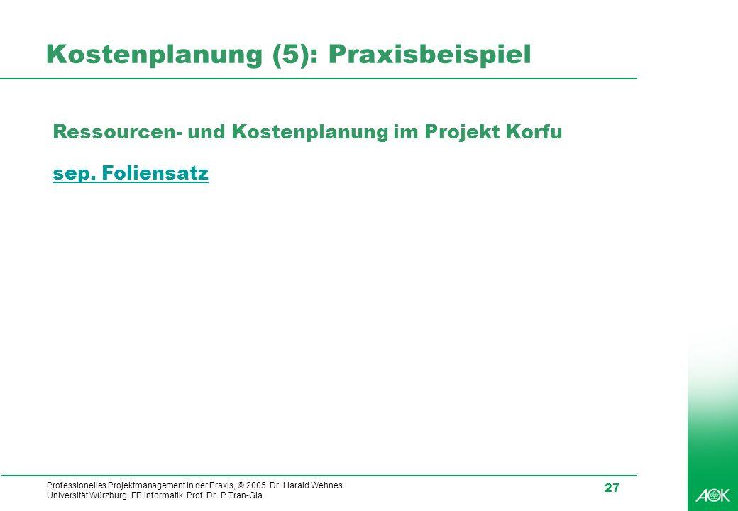 Kostenplanung (5): Praxisbeispiel