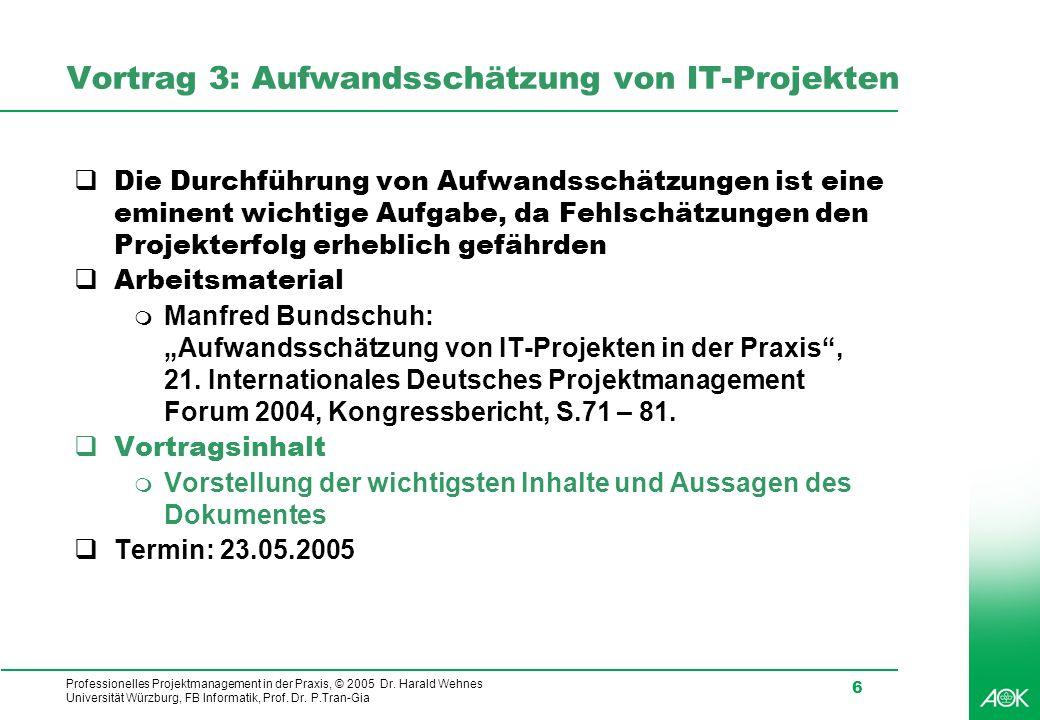 Vortrag 3: Aufwandsschätzung von IT-Projekten
