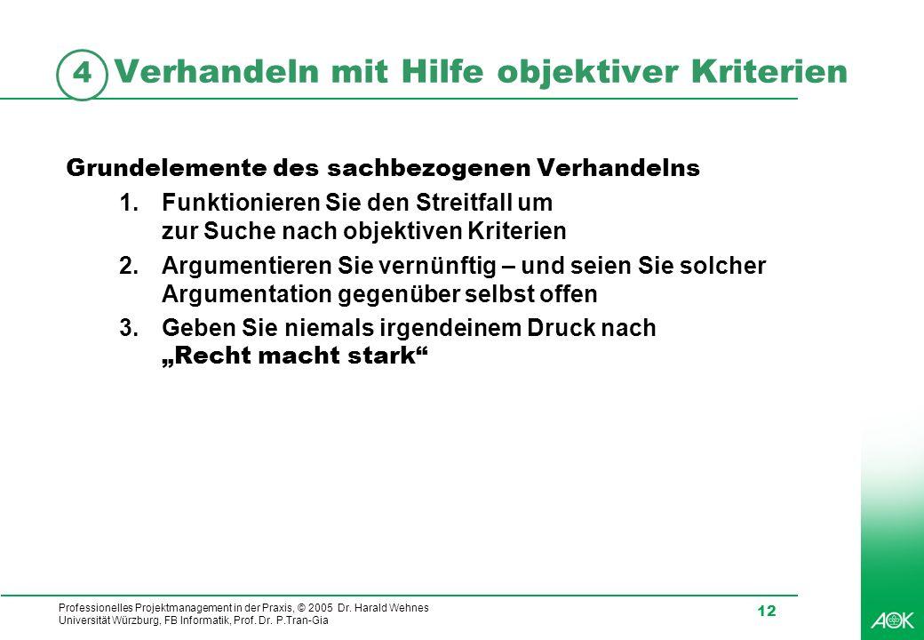 Verhandeln mit Hilfe objektiver Kriterien