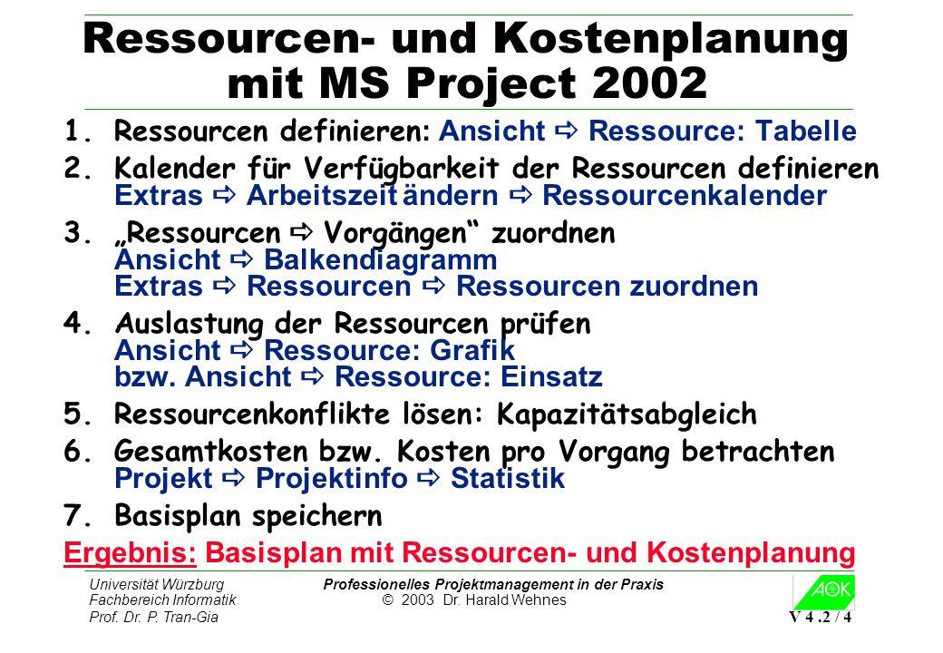 Ressourcen- und Kostenplanung mit MS Project 2002