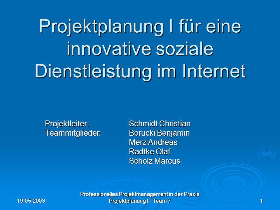 Projektplanung I für eine innovative soziale Dienstleistung im Internet