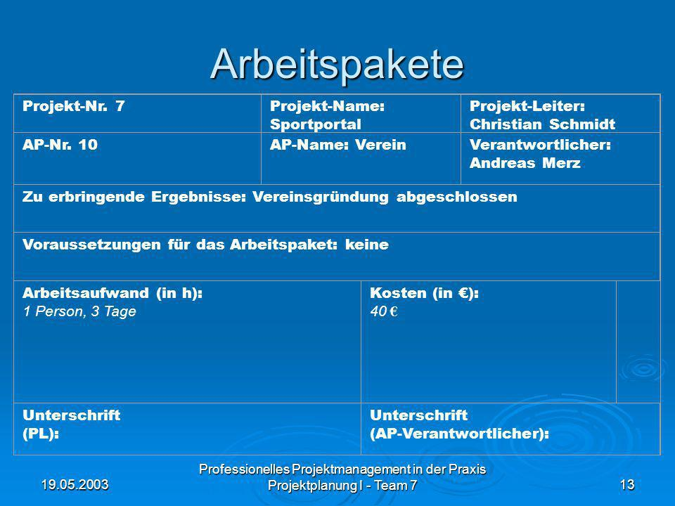 Arbeitspakete Projekt-Nr. 7 Projekt-Name: Sportportal Projekt-Leiter: