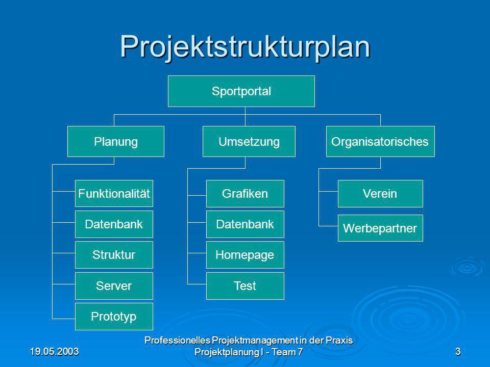 Projektstrukturplan Sportportal Planung Umsetzung Organisatorisches