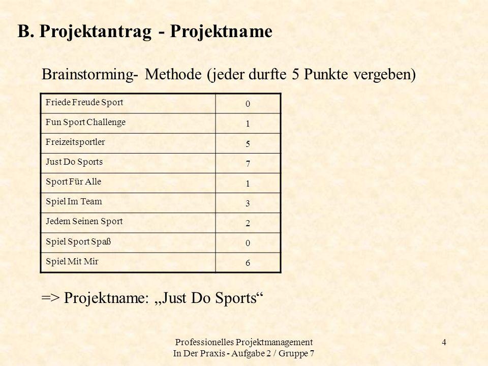Professionelles Projektmanagement In Der Praxis - Aufgabe 2 / Gruppe 7
