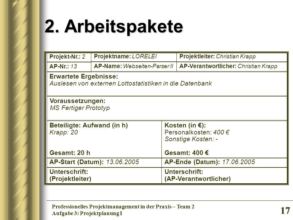 2. Arbeitspakete Erwartete Ergebnisse: