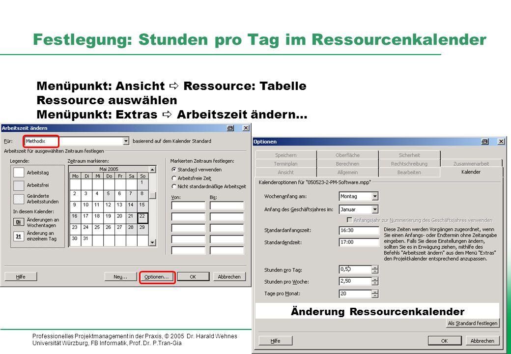 Festlegung: Stunden pro Tag im Ressourcenkalender