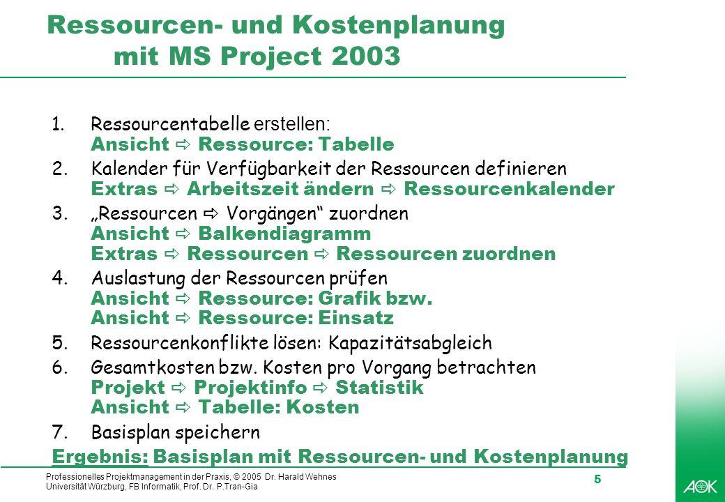 Ressourcen- und Kostenplanung mit MS Project 2003
