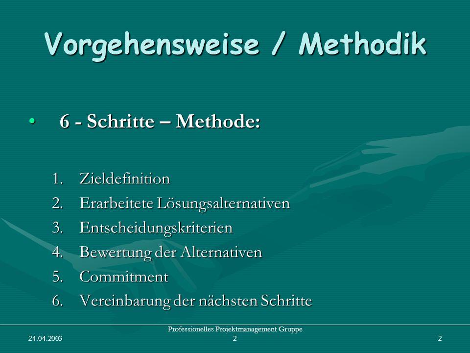Vorgehensweise / Methodik