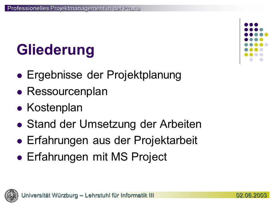 Gliederung Ergebnisse der Projektplanung Ressourcenplan Kostenplan