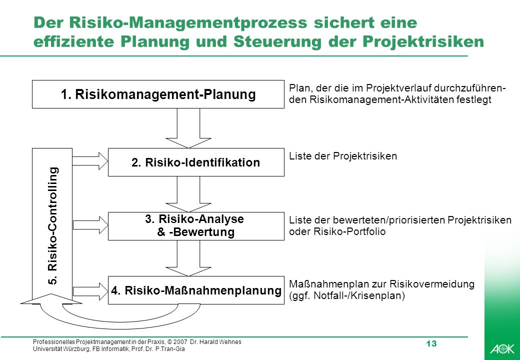 Der Risiko-Managementprozess sichert eine effiziente Planung und Steuerung der Projektrisiken