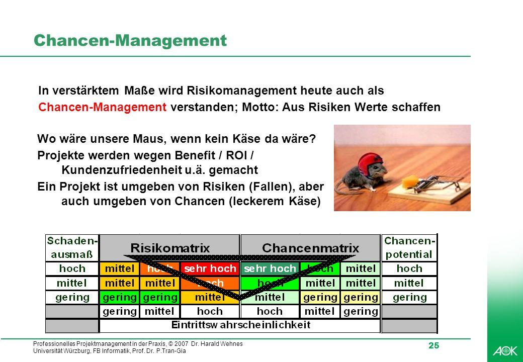 Chancen-Management In verstärktem Maße wird Risikomanagement heute auch als. Chancen-Management verstanden; Motto: Aus Risiken Werte schaffen.