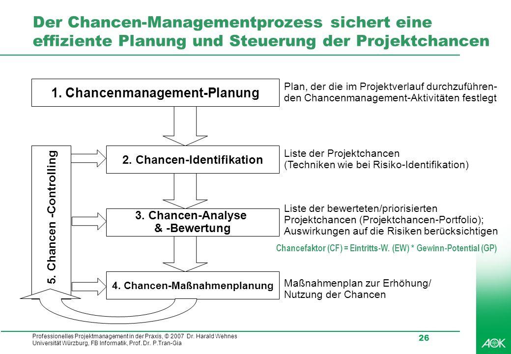 Der Chancen-Managementprozess sichert eine effiziente Planung und Steuerung der Projektchancen