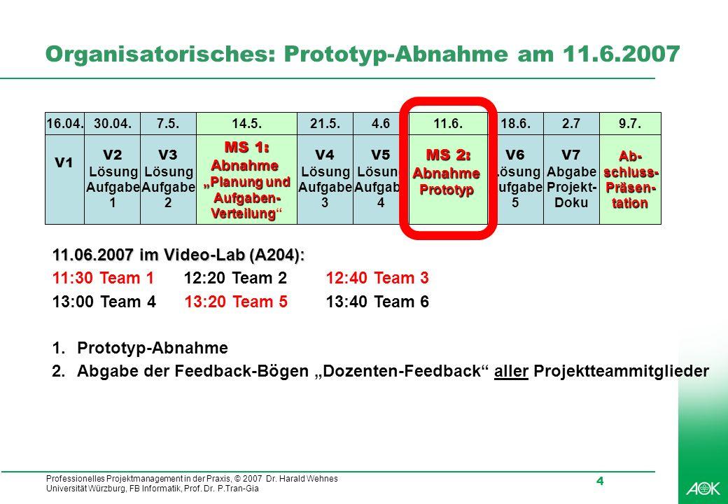 Organisatorisches: Prototyp-Abnahme am 11.6.2007