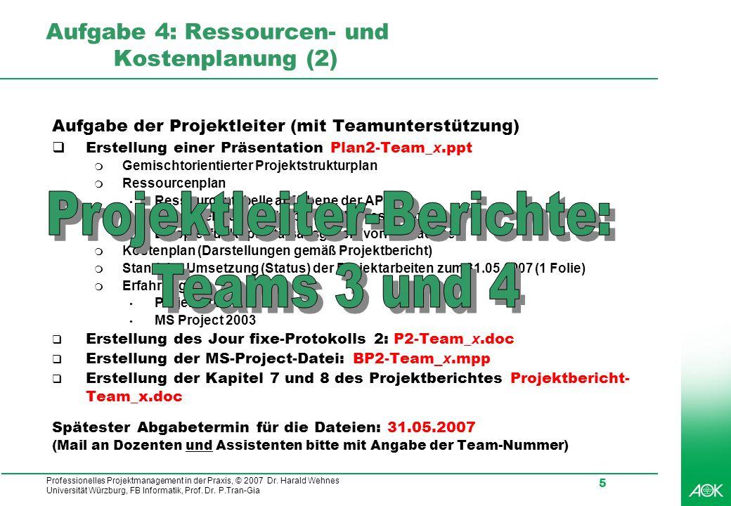 Aufgabe 4: Ressourcen- und Kostenplanung (2)