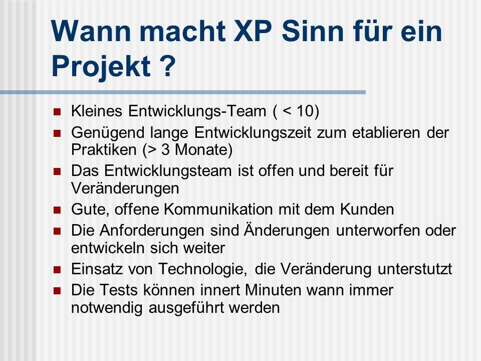 Wann macht XP Sinn für ein Projekt