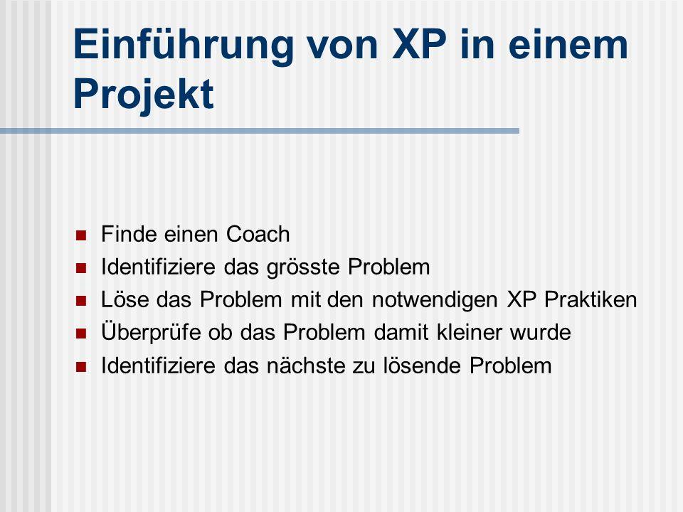 Einführung von XP in einem Projekt