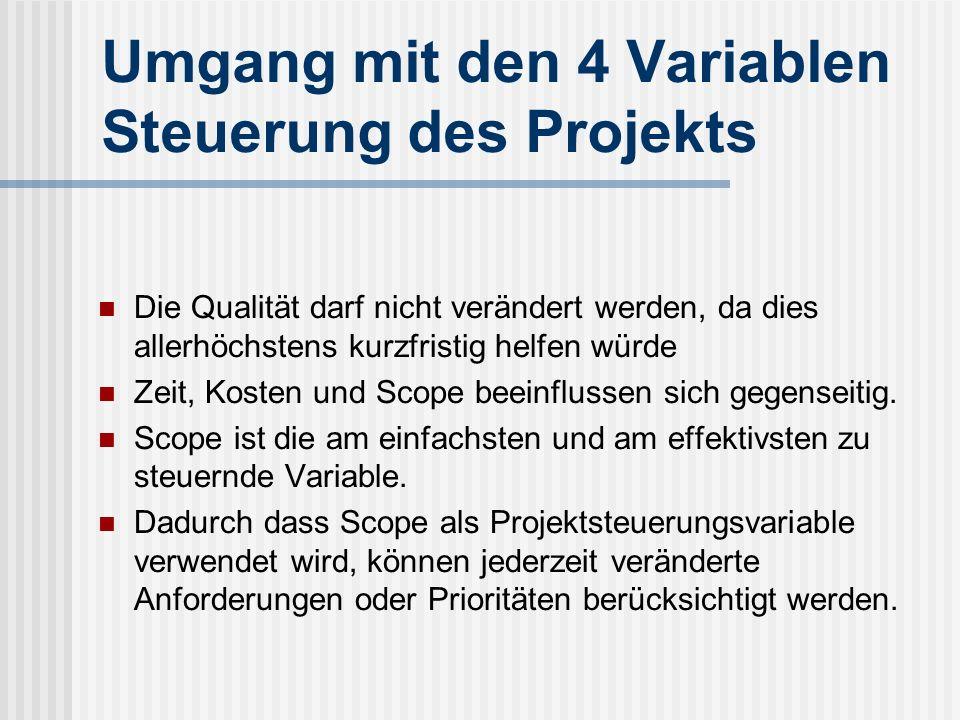 Umgang mit den 4 Variablen Steuerung des Projekts