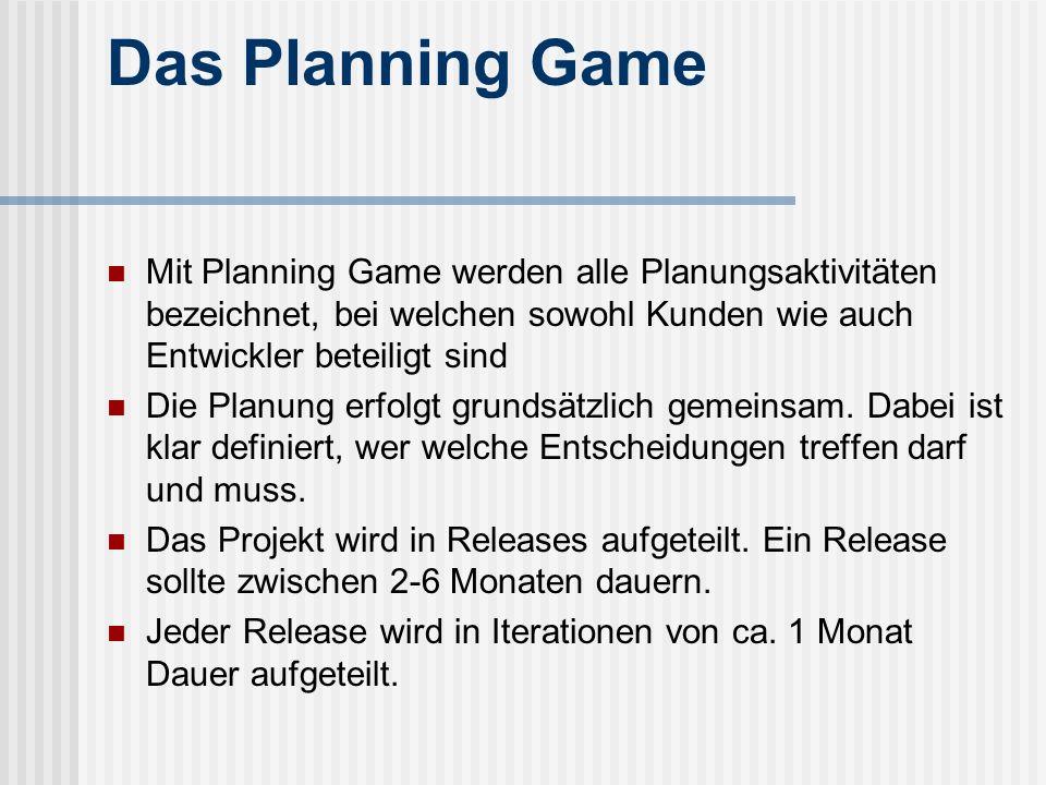 Das Planning Game Mit Planning Game werden alle Planungsaktivitäten bezeichnet, bei welchen sowohl Kunden wie auch Entwickler beteiligt sind.
