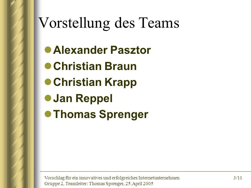 Vorstellung des Teams Alexander Pasztor Christian Braun