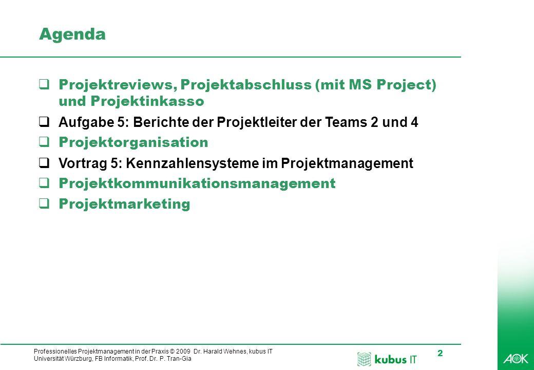AgendaProjektreviews, Projektabschluss (mit MS Project) und Projektinkasso. Aufgabe 5: Berichte der Projektleiter der Teams 2 und 4.