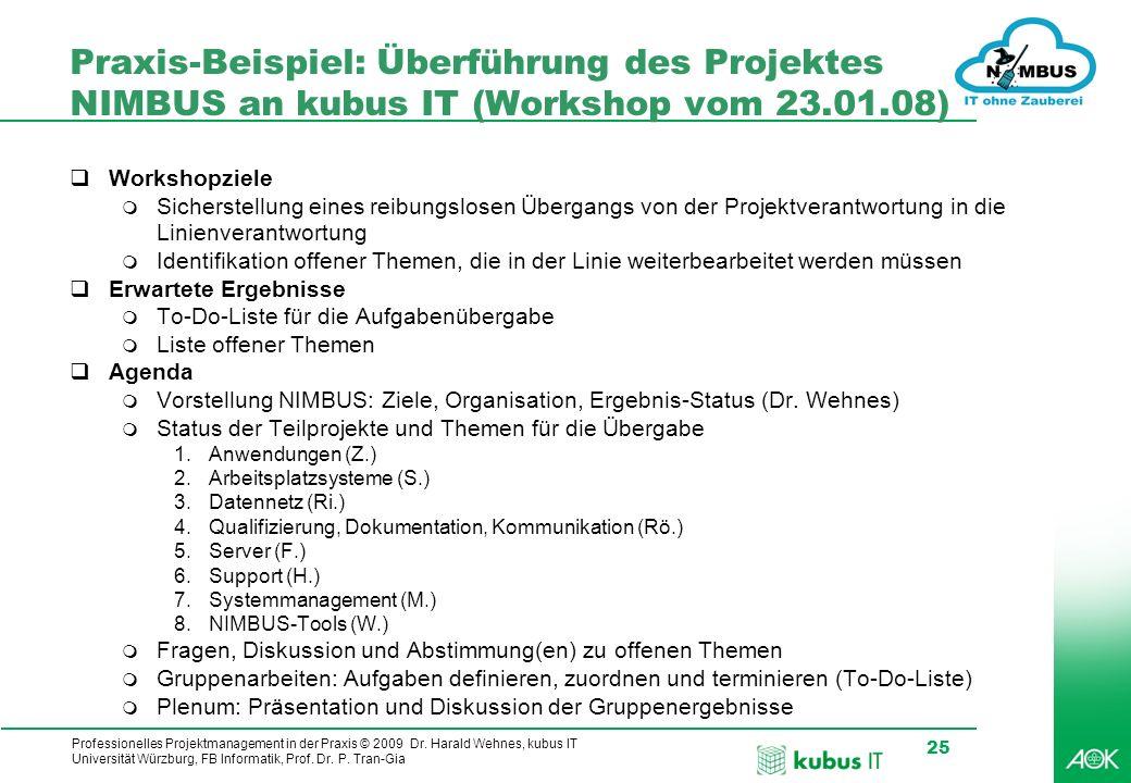 Praxis-Beispiel: Überführung des Projektes NIMBUS an kubus IT (Workshop vom 23.01.08)