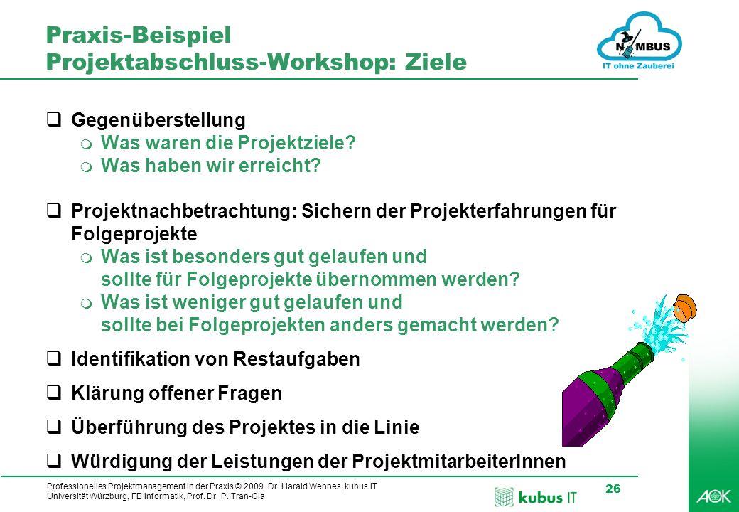 Praxis-Beispiel Projektabschluss-Workshop: Ziele