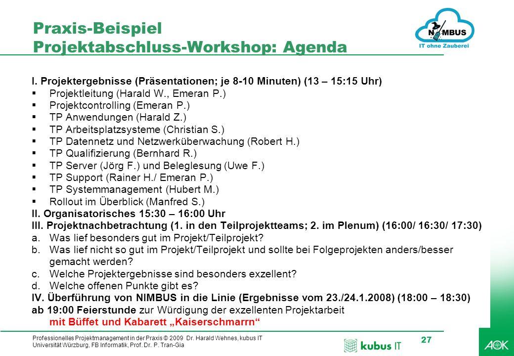 Praxis-Beispiel Projektabschluss-Workshop: Agenda