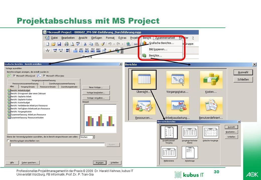 Projektabschluss mit MS Project