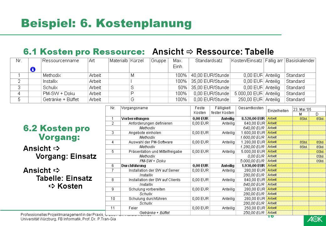 Beispiel: 6. Kostenplanung