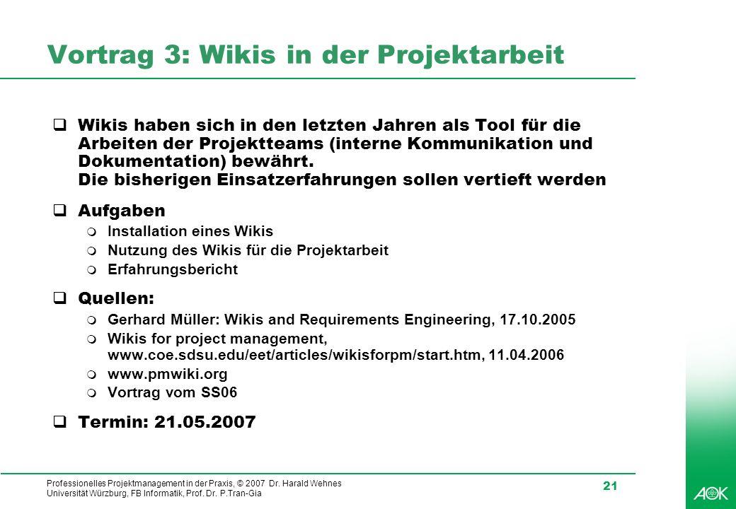 Vortrag 3: Wikis in der Projektarbeit