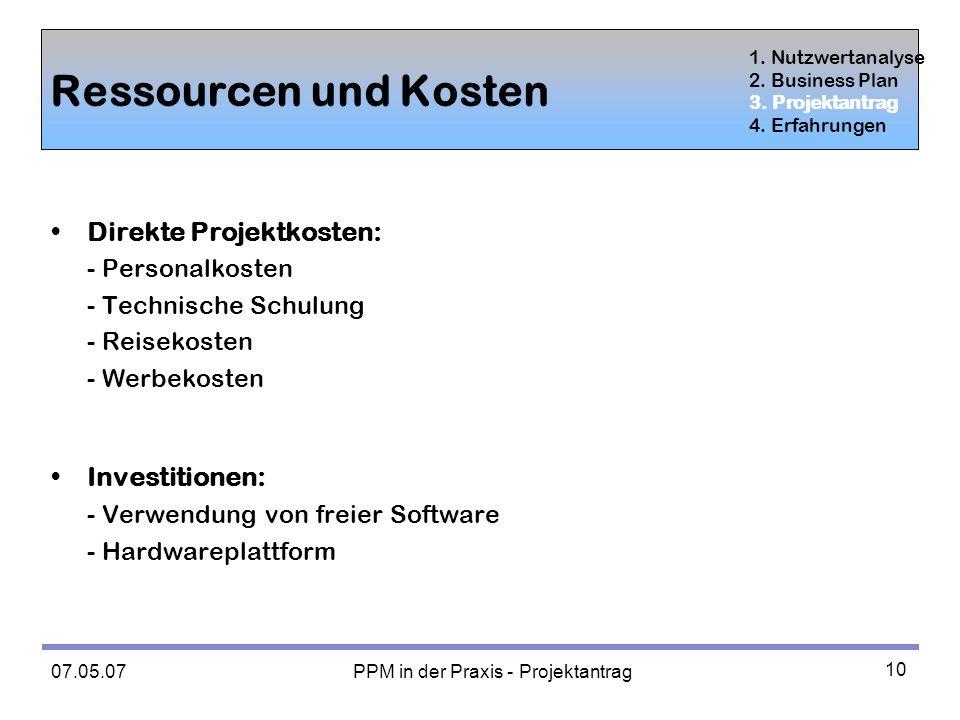 PPM in der Praxis - Projektantrag