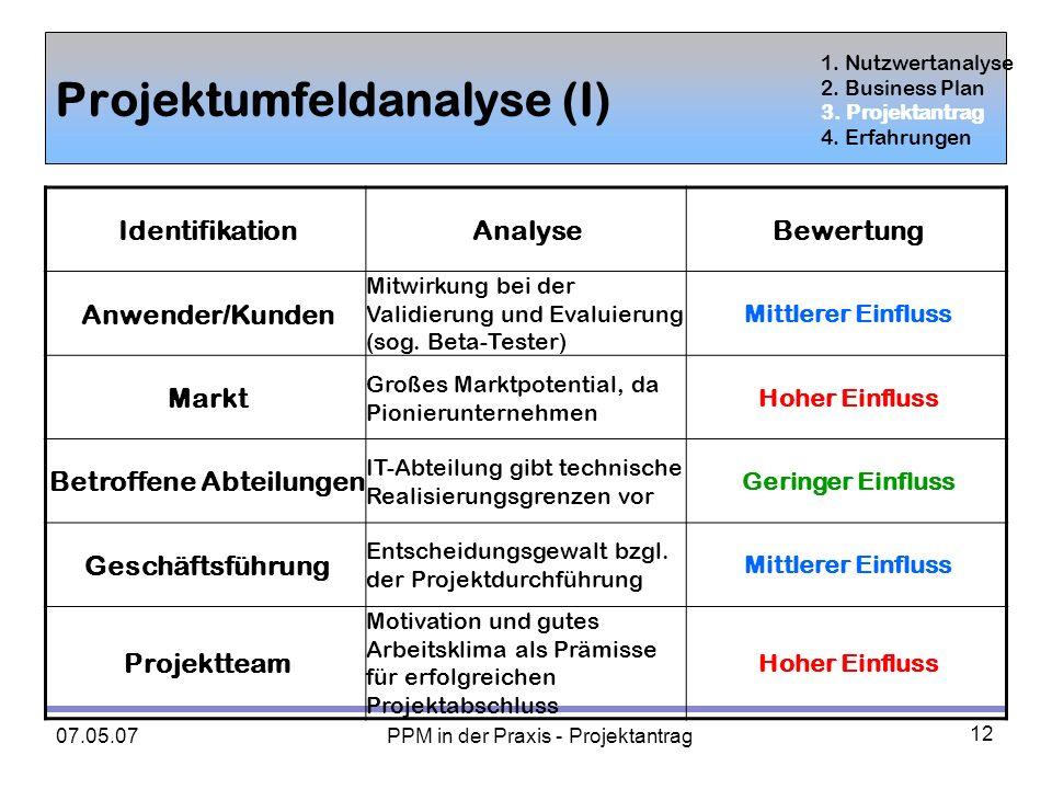 Projektumfeldanalyse (I)