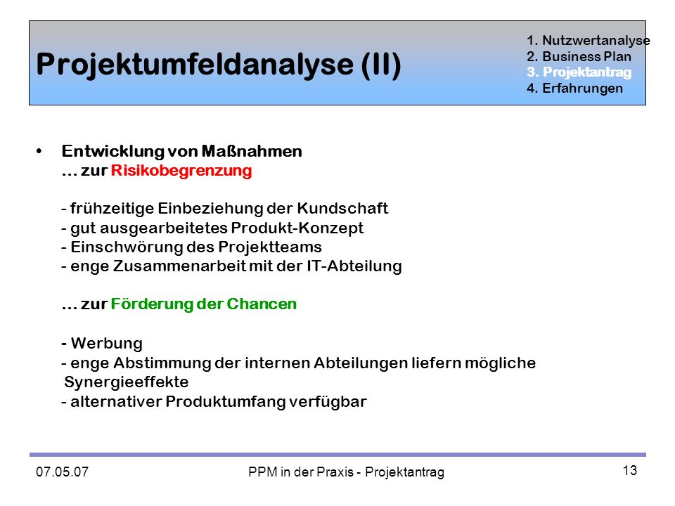 Projektumfeldanalyse (II)
