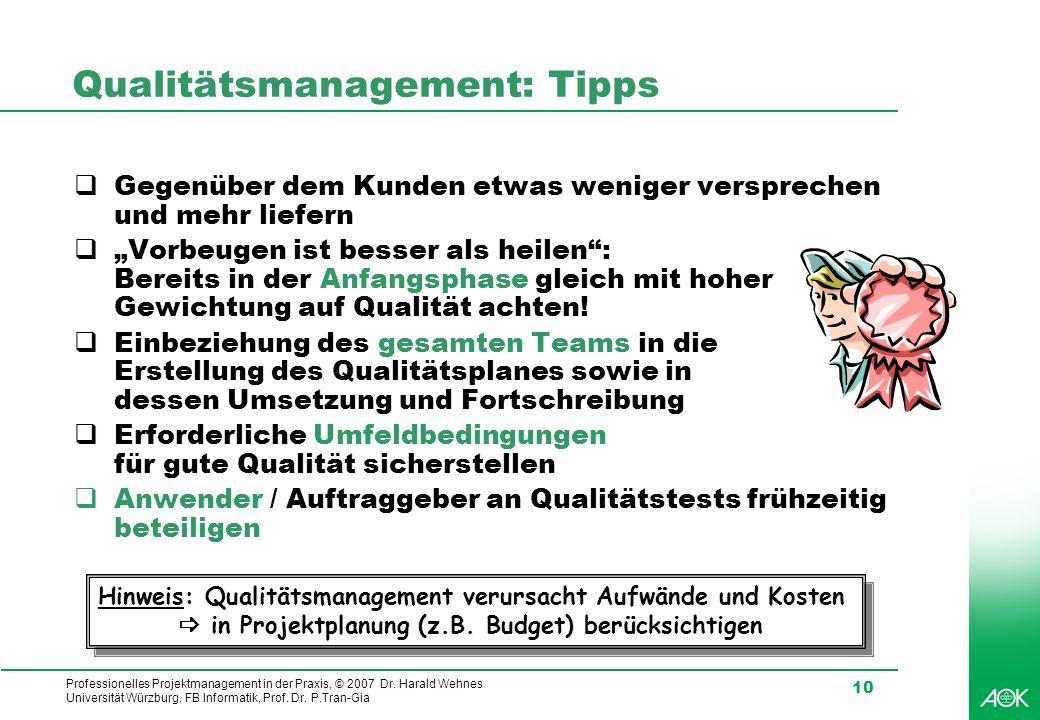 Qualitätsmanagement: Tipps