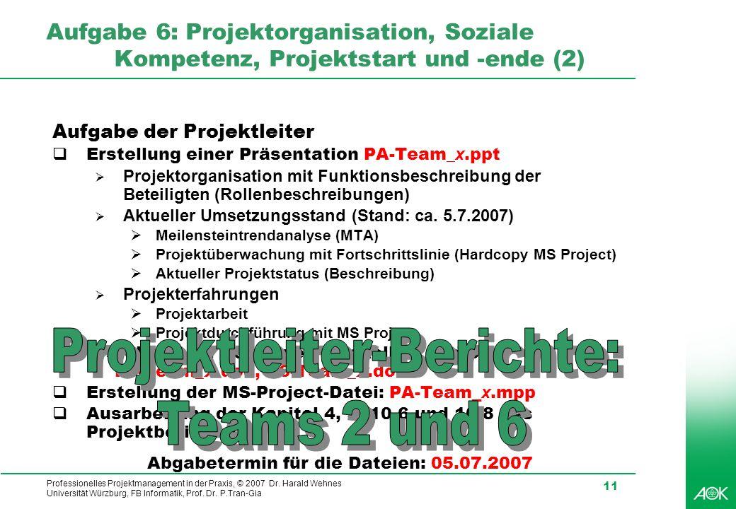 Projektleiter-Berichte: Teams 2 und 6