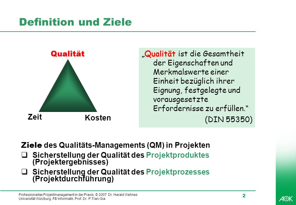 Definition und Ziele Qualität (DIN 55350) Zeit Kosten