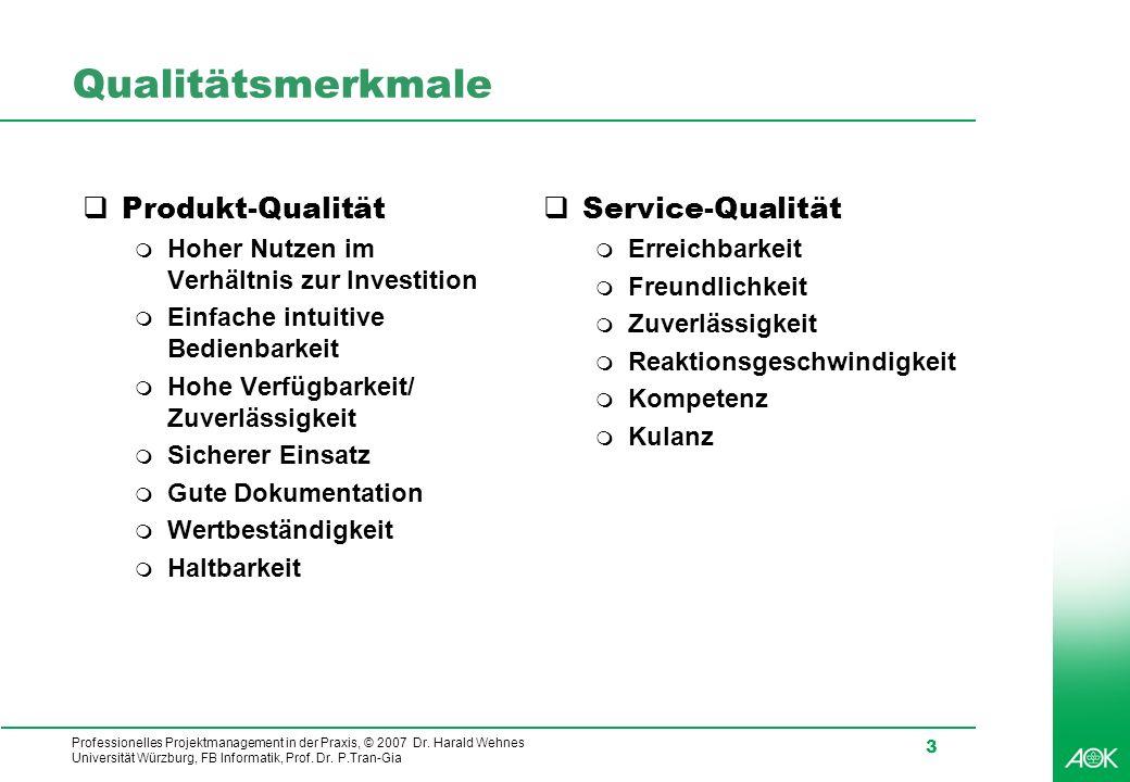 Qualitätsmerkmale Produkt-Qualität Service-Qualität