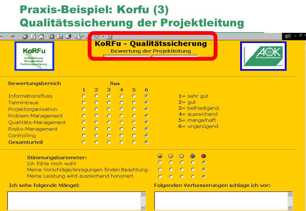 Praxis-Beispiel: Korfu (3) Qualitätssicherung der Projektleitung