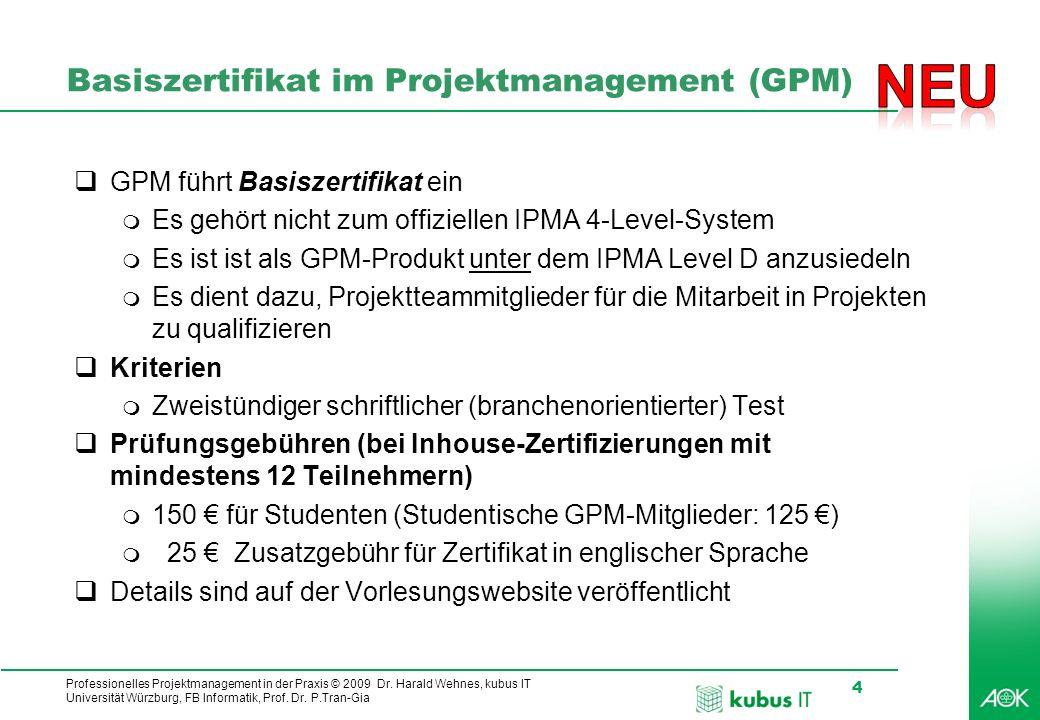 Basiszertifikat im Projektmanagement (GPM)
