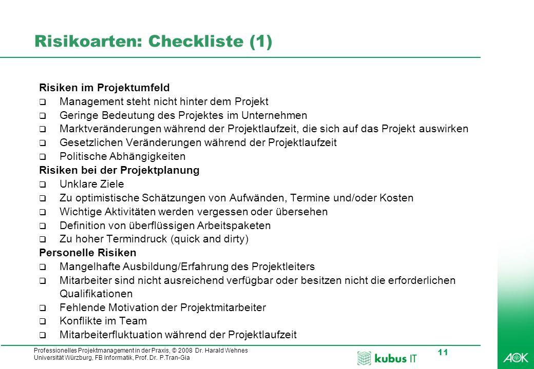 Risikoarten: Checkliste (1)