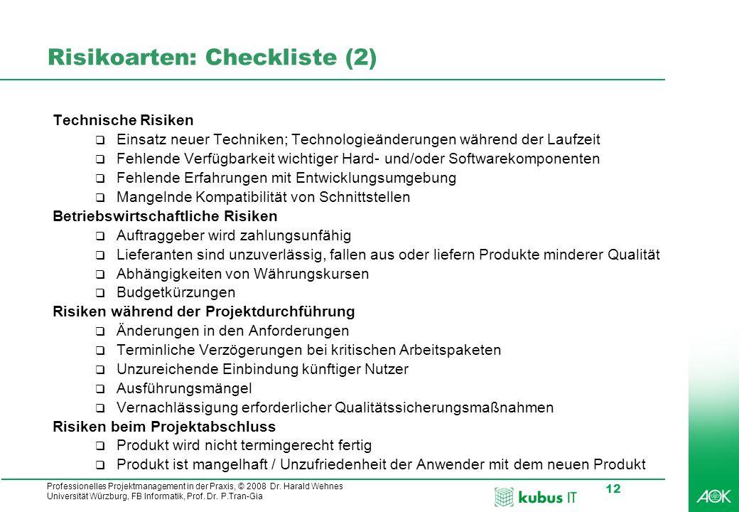 Risikoarten: Checkliste (2)
