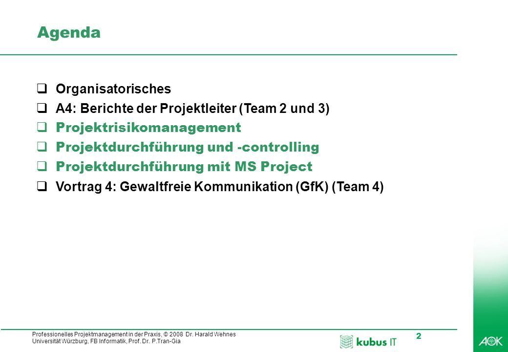 Agenda Organisatorisches A4: Berichte der Projektleiter (Team 2 und 3)