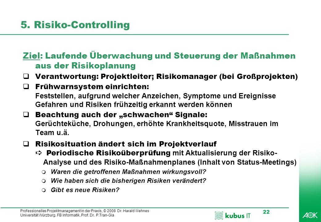5. Risiko-Controlling Ziel: Laufende Überwachung und Steuerung der Maßnahmen aus der Risikoplanung.