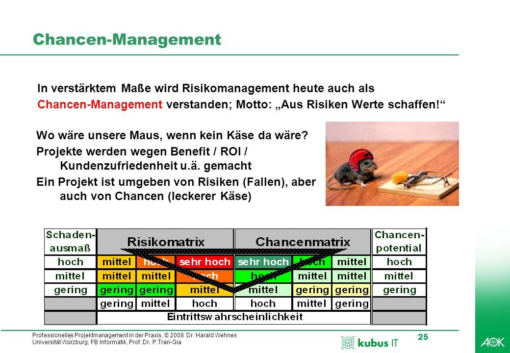 """Chancen-Management In verstärktem Maße wird Risikomanagement heute auch als. Chancen-Management verstanden; Motto: """"Aus Risiken Werte schaffen!"""