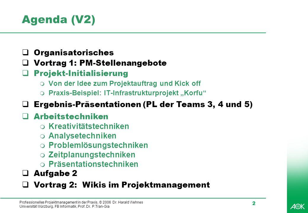 Agenda (V2) Organisatorisches Vortrag 1: PM-Stellenangebote