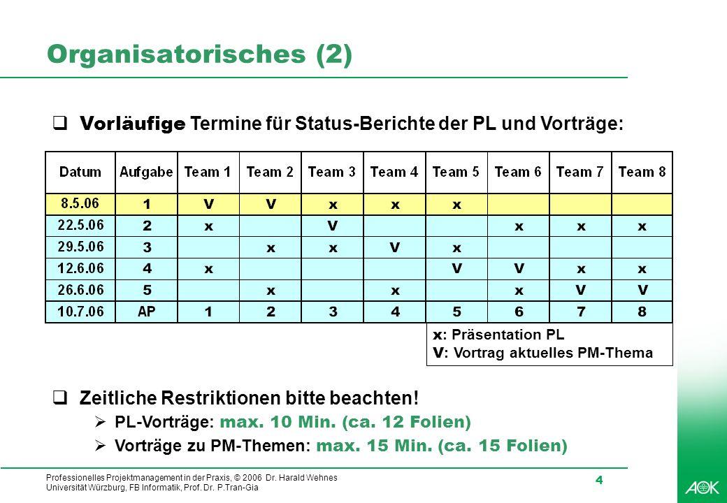 Organisatorisches (2) Vorläufige Termine für Status-Berichte der PL und Vorträge: x: Präsentation PL.
