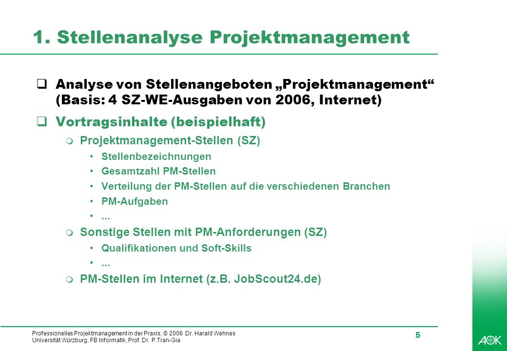 1. Stellenanalyse Projektmanagement