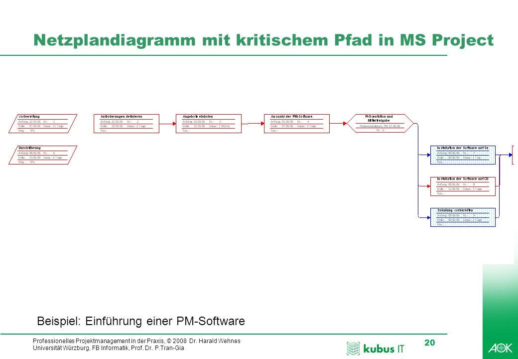 Netzplandiagramm mit kritischem Pfad in MS Project