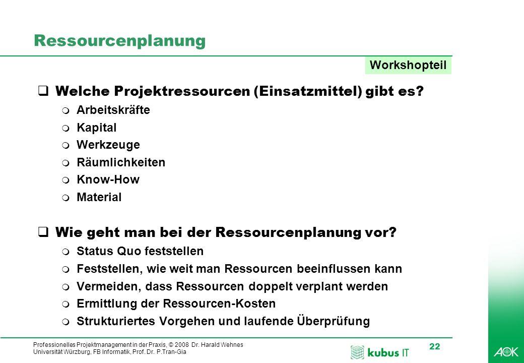 Ressourcenplanung Welche Projektressourcen (Einsatzmittel) gibt es