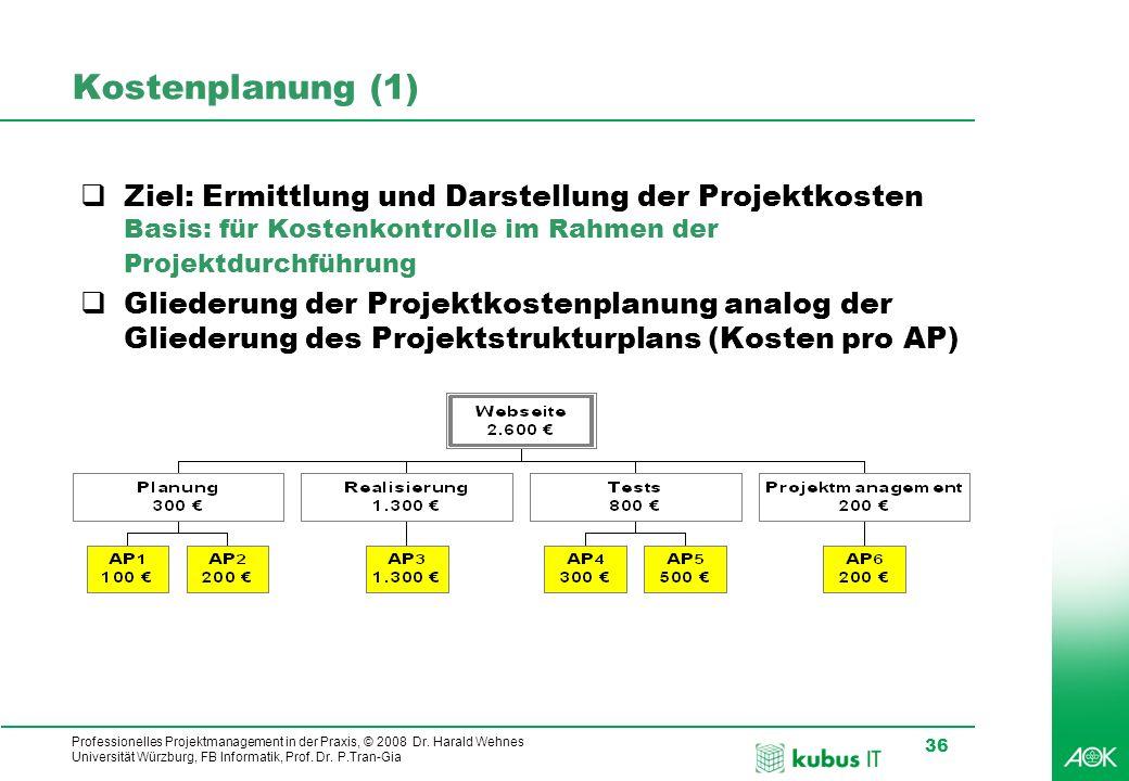 Kostenplanung (1) Ziel: Ermittlung und Darstellung der Projektkosten Basis: für Kostenkontrolle im Rahmen der Projektdurchführung.